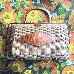 Vintage 1970's Lucite Wicker Hand Bag